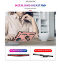Rose Gold Metal Ring 360 Rotating Shock Proof Stand Case For Galaxy A12 - 2