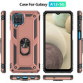 Rose Gold Metal Ring 360 Rotating Shock Proof Stand Case For Galaxy A12 - 3