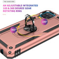 Rose Gold Metal Ring 360 Rotating Shock Proof Stand Case For Galaxy A12 - 5