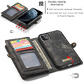 Black Multi-functional 2 in 1 Magnetic Retro Wallet Case for iPhone 11 - 5