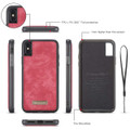 Red Multi-Functional Wallet Detachable Magnetic Case For iPhone 7 / 8 - 3