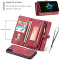 Red Multi-Functional Wallet Detachable Magnetic Case For iPhone 7 / 8 - 7