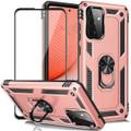 Rose Gold Galaxy A72 Shock Proof 360 Rotating Metal Ring Kickstand Case - 1
