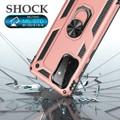 Rose Gold Galaxy A72 Shock Proof 360 Rotating Metal Ring Kickstand Case - 4