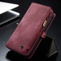 Red iPhone 12 / 12 Pro Multi-functional 2 in 1 Zipper Wallet Card Case - 1