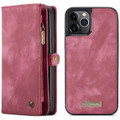 Red iPhone 12 / 12 Pro Multi-functional 2 in 1 Zipper Wallet Card Case - 2