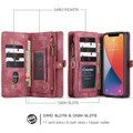 Red iPhone 12 / 12 Pro Multi-functional 2 in 1 Zipper Wallet Card Case - 5