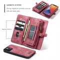 Red iPhone 12 / 12 Pro Multi-functional 2 in 1 Zipper Wallet Card Case - 6