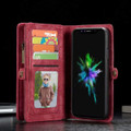 Red iPhone 12 / 12 Pro Multi-functional 2 in 1 Zipper Wallet Card Case - 8