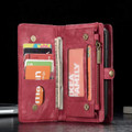 Red iPhone 12 / 12 Pro Multi-functional 2 in 1 Zipper Wallet Card Case - 9