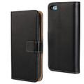 Black Premium Apple iPhone 5C Genuine Leather Wallet Case Cover - 1