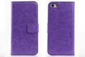 Purple Stylish Textured Leather Wallet Stand Case for Apple iPhone 5C - 2