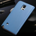 Light Blue Leather Wallet Case For Samsung Galaxy Note 4 Cover - 2