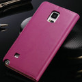 Stylish Hot Pink Samsung Galaxy Note 4 Genuine Leather Wallet Case - 2