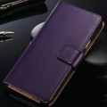 Premium Purple Samsung Galaxy Note 4 Leather Wallet Case Cover - 1