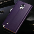 Premium Purple Samsung Galaxy Note 4 Leather Wallet Case Cover - 2