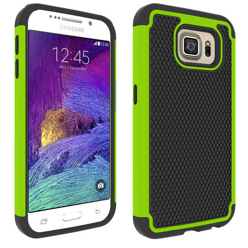 Green Heavy Duty Tough Stand Case Cover for Samsung Galaxy S6 Edge - 1