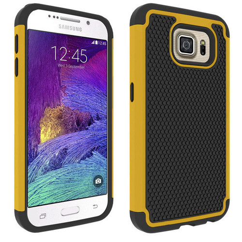 Yellow Shockproof Heavy Duty Case for Samsung Galaxy S6 SVI Edge Cover - 1