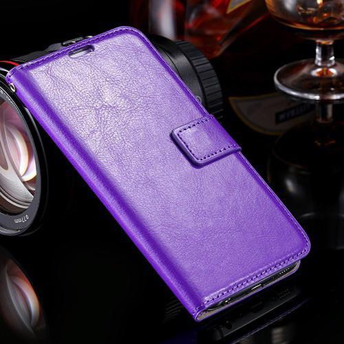Purple Textured Vintage Wallet Case for Samsung Galaxy S6 Edge - 1