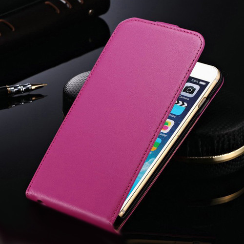 "Hot Pink Apple iPhone 6 / 6S (4.7"") Cover Genuine leather Flip Case - 1"
