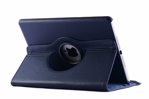 Navy Smart Apple iPad Air 2 360 Rotating Leather Stand Case Cover - 1