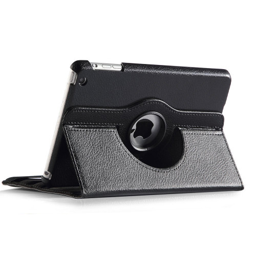 Black Apple iPad Mini 3 Smart Cover 360 Rotational Leather Stand Case - 4