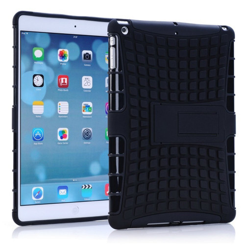 Black Apple iPad Mini 3 Heavy Duty Defender Hybrid Kickstand Case - 1