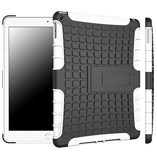 White Tire Tread Dual Layer Stand Case For Apple iPad Air 2 Defender - 1