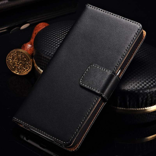 Black Genuine Leather Wallet Case For Samsung Galaxy Note 5 - 1