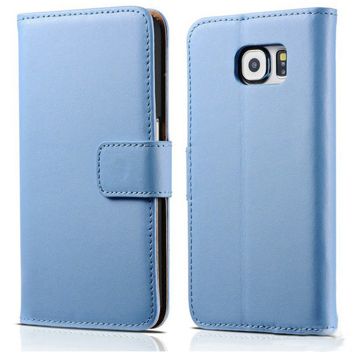Blue Premium Genuine Leather Wallet Case for Samsung Galaxy Note 5 - 1