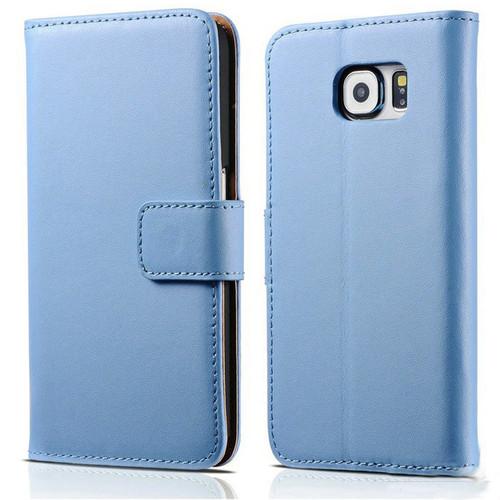 Blue Premium Genuine Leather Wallet Case for Samsung Galaxy Note 5 - 1