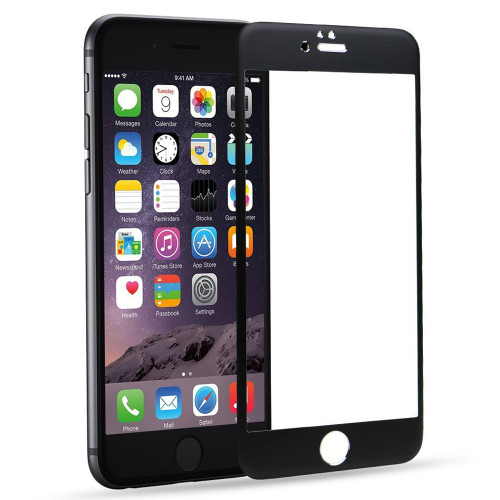 "Black iPhone 6 / 6S Plus 5.5"" Metal Frame Tempered Glass Screen Guard - 1"