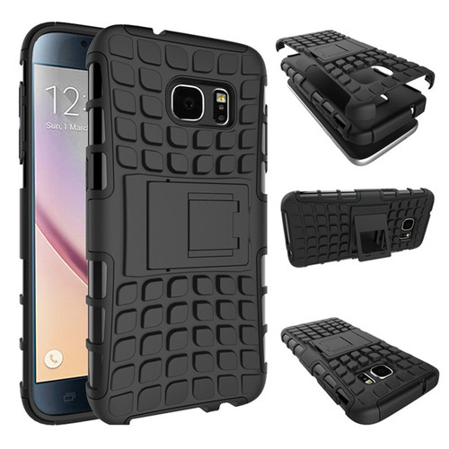 Black Heavy Duty TPU Armor Kickstand Case Cover For Samsung Galaxy S7