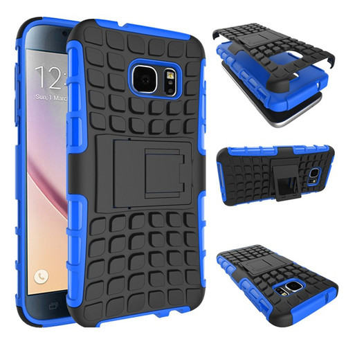 Blue Samsung Galaxy S7 Dual Layer Rugged Combo Tyre Kickstand Case