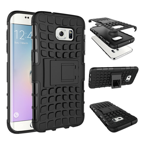 Black Samsung Galaxy S7 Edge Heavy Duty TPU Armor Kickstand Case