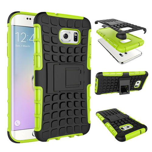 Green Galaxy S7 Edge Tough Hybrid Shockproof Stand Armor Case