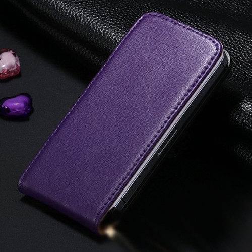 Purple Leather Vertical Flip Case For Apple iPhone 5 / 5S - 1