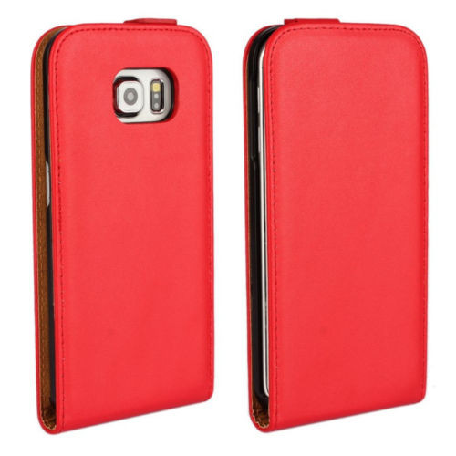 Red Samsung Galaxy S6 Premium Leather Vertical Flip Case