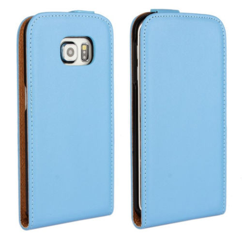 Blue Samsung Galaxy S6 Premium Leather Vertical Flip Case