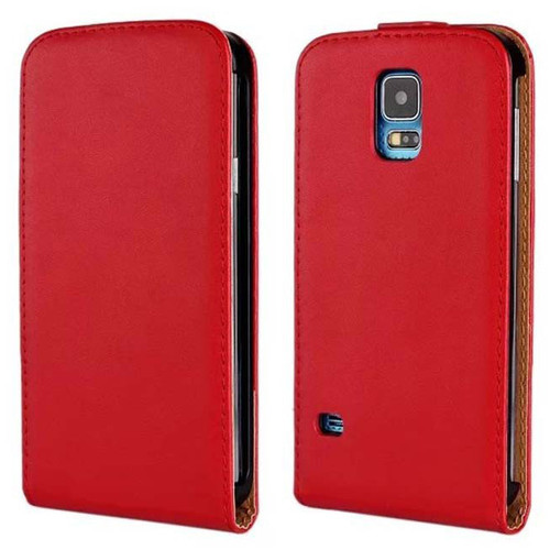 Red Genuine Leather Flip Case for Samsung Galaxy S5 Cover - 1