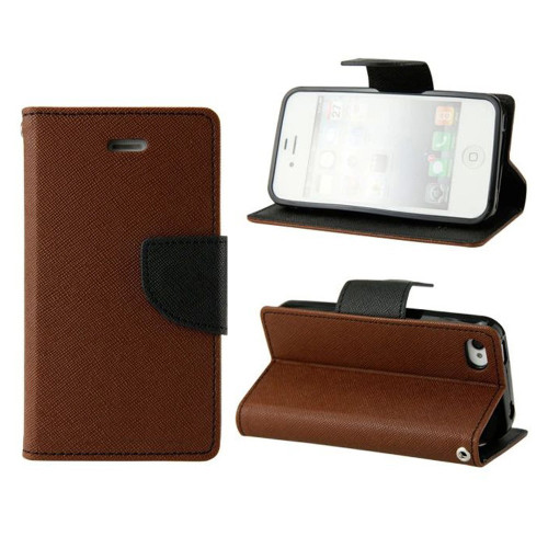 Brown / Black Diary Wallet Gel Inner Case For Apple iPhone 5C