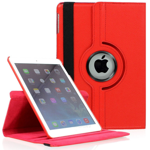 "Red iPad 2017 9.7"" 360 Degree Rotating Synthetic Leather Stand Case   - 1"
