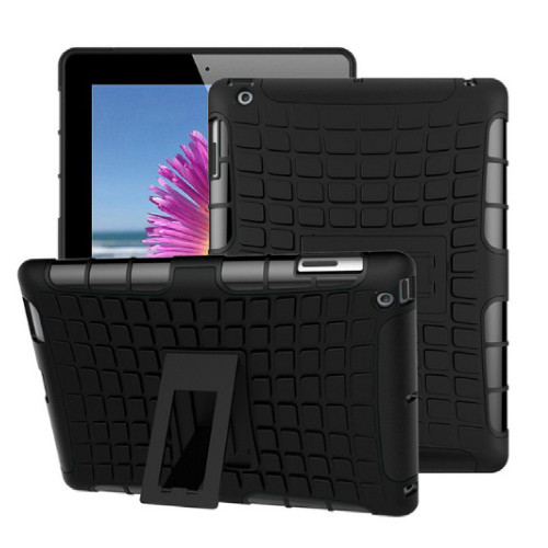 Black iPad 2017 Heavy Duty Hybrid Kickstand Protective Cover Case - 1