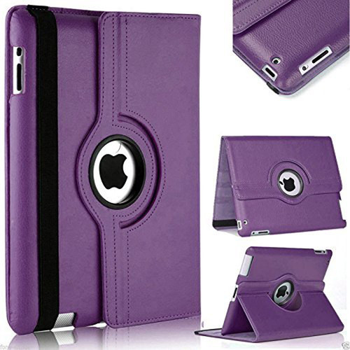 Purple 360 Degree Rotating Leather Stand Case For Apple iPad Mini 4 / 5 - 1