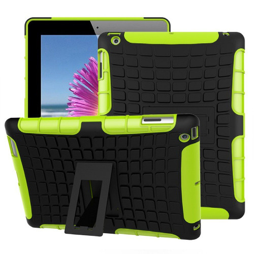 Green iPad 2017 Shockproof Hybrid Kickstand Protective Case - 1