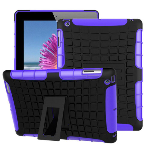 Purple iPad 2017 Heavy Duty Kickstand Shockproof Protective Case Cover - 1