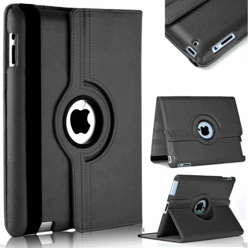 Black iPad Mini 4 / 5 360 Degree Rotating Synthetic Leather Stand Case - 1