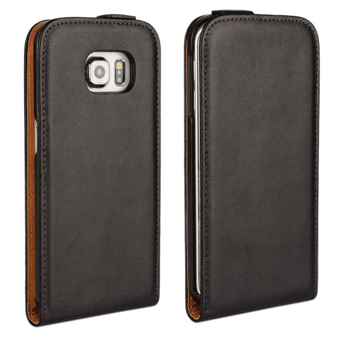 Black Samsung Galaxy S6 Vertical Flip Genuine Split Leather Case - 1