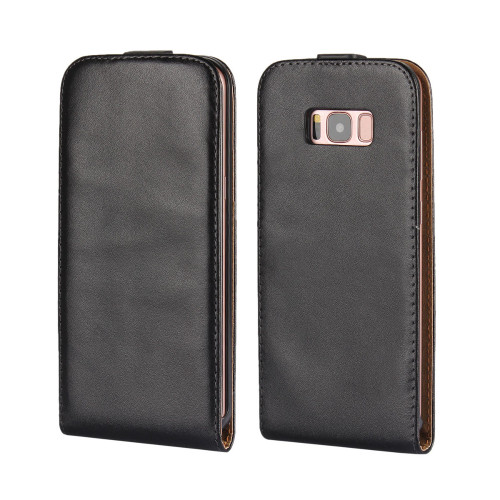 Black Samsung Galaxy S8 Vertical Flip Genuine Split Leather Case Cover - 1