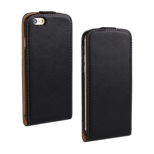 Black Vertical Flip Genuine Leather Case Cover For Apple iPhone 7 - 1